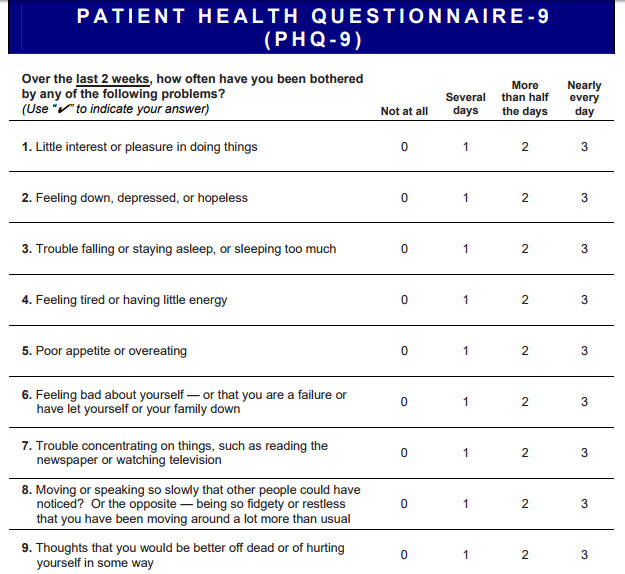the PHQ 9 is a widely endorsed depression test for every